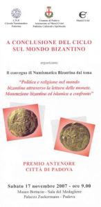 Locandina giornata di studi numismatici 17 novembre 2007